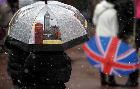 Tourists stand in the snow outside Buckingham Palace, London