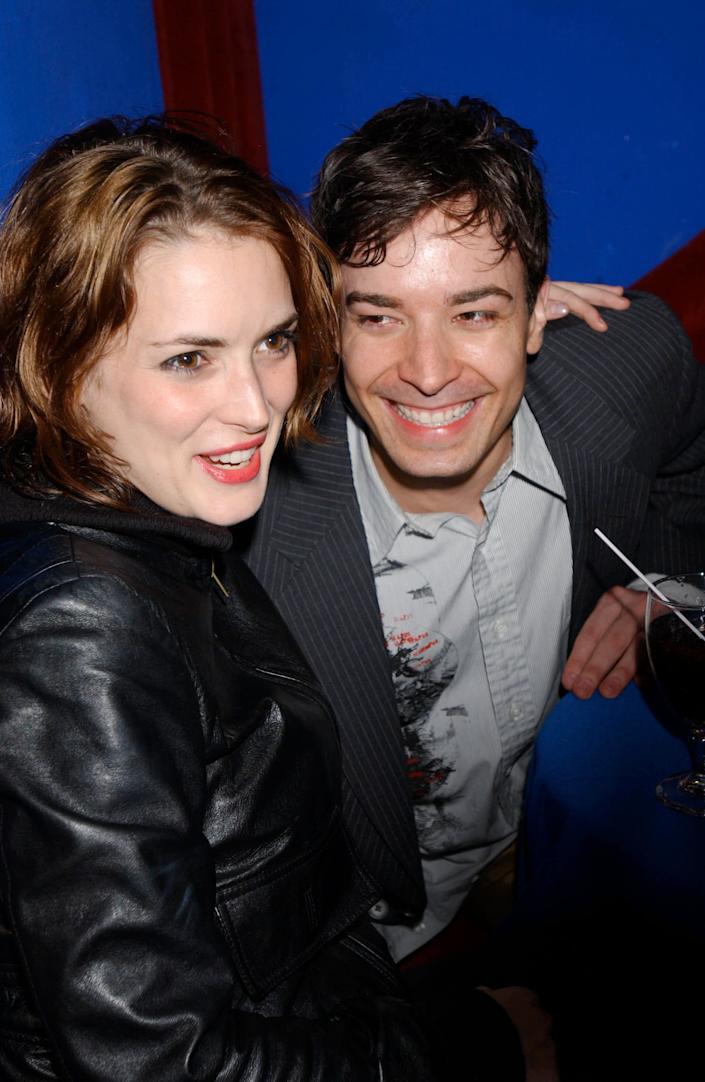 "Winona Ryder and Jimmy Fallon were reportedly linked in 2002, though <a href=""http://www.wmagazine.com/celebrities/archive/winona_ryder"" rel=""nofollow noopener"" target=""_blank"" data-ylk=""slk:she denied a relationship in W magazine"" class=""link rapid-noclick-resp"">she denied a relationship in W magazine</a> that same year: ""I do date once in a while, and I've gone out with wonderful people in the past. Although not with Jimmy Fallon, who everyone thinks is my boyfriend. We're just great friends."""