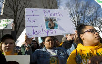 <p>A student from Great Mills High School in Maryland holds up the photograph of her classmate Jaelynn Willey at the €œMarch for Our Lives rally. Willey was killed in another school shooting. (AP Photo/Jose Luis Magana) </p>
