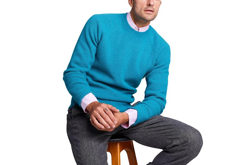 "$268, Todd Snyder. <a href=""https://www.toddsnyder.com/collections/sale/products/ribbed-raglan-crew-teal"" rel=""nofollow noopener"" target=""_blank"" data-ylk=""slk:Get it now!"" class=""link rapid-noclick-resp"">Get it now!</a>"