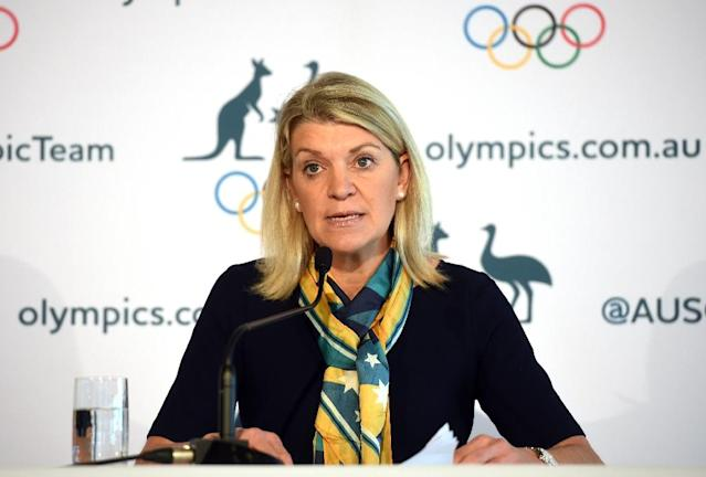Kitty Chiller, the chef de mission for Australia's Olympic team, speaks during a press conference in Sydney on July 14, 2016 (AFP Photo/Peter Parks)
