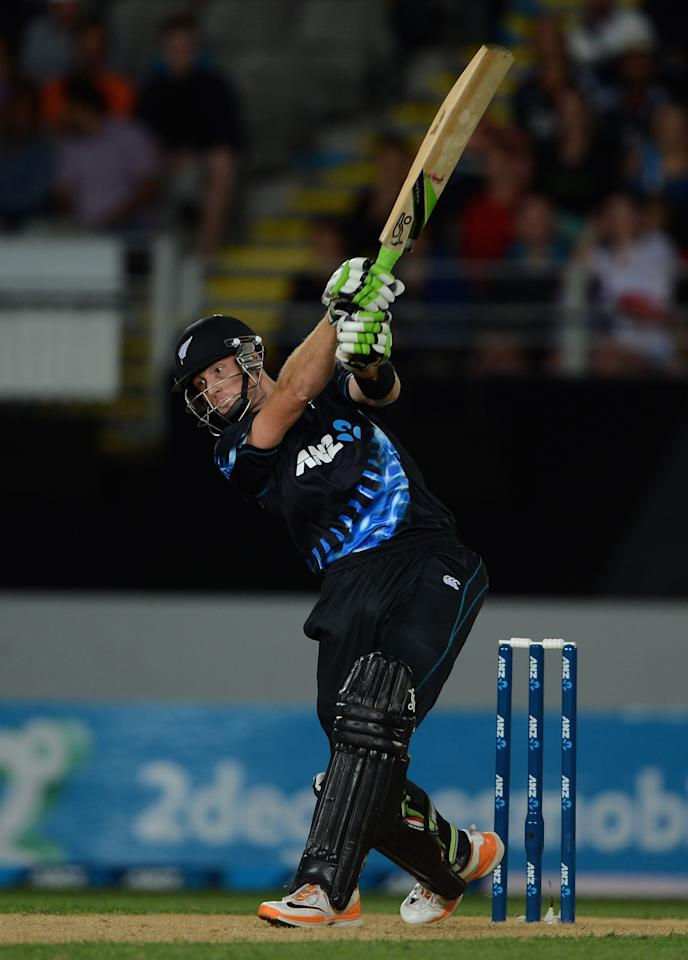 AUCKLAND, NEW ZEALAND - FEBRUARY 09:  Martin Guptill of New Zealand bats during the 1st T20 International between New Zealand and England at Eden Park on February 9, 2013 in Auckland, New Zealand.  (Photo by Gareth Copley/Getty Images)