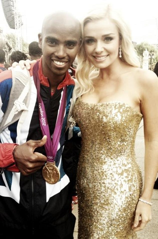 "Celebrity photos: Katherine Jenkins performed at the Olympics Parade earlier this week. After her performance, she scouted out some athletes and had her photo taken with them. She tweeted this one of her with Mo Farah, alongside the caption: ""Highlight of the day... Meeting @Mo_Farah #Starstruck"""