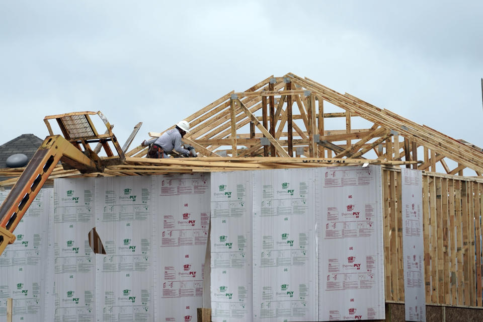 A new home under construction is shown Thursday, Sept. 24, 2020, in Houston. U.S. construction spending increased 1.4% in August, led by a surge in spending on single-family homes. (AP Photo/David J. Phillip)
