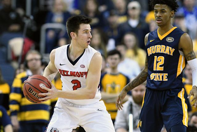 Belmont Bruins guard Grayson Murphy (2) holds the ball away from Murray State Racers Guard Ja Morant (12) during the Ohio Valley Conference (OVC) Championship college basketball game on March 9. (Getty)