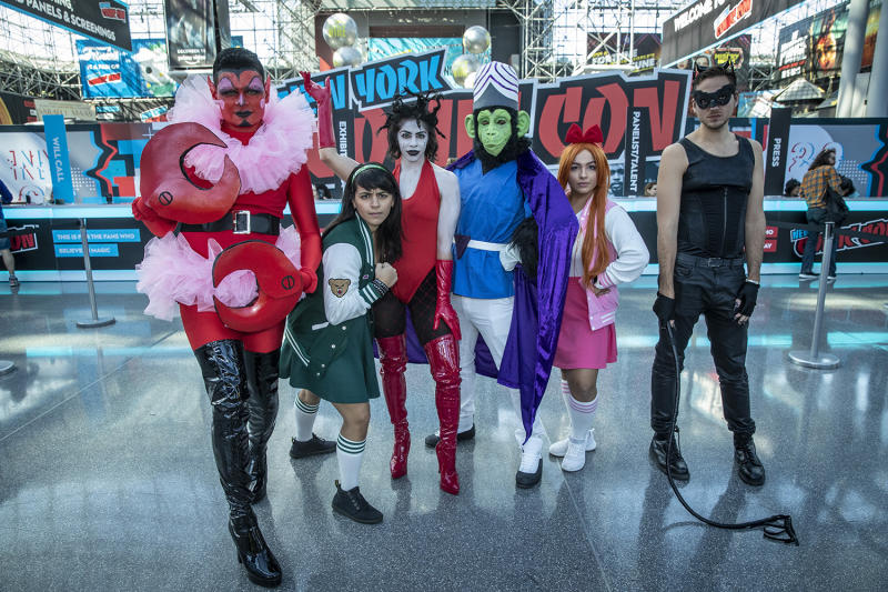Cosplayers arrive for the third day of the 2019 New York Comic Con at the Jacob Javits Center on Oct. 5, 2019. The four-day event is the largest pop culture event on the East Coast. (Photo: Gordon Donovan/Yahoo News)