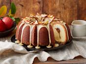 """<p><strong>Recipe: <a href=""""https://www.southernliving.com/recipes/apple-butter-pound-cake-caramel-frosting"""" rel=""""nofollow noopener"""" target=""""_blank"""" data-ylk=""""slk:Apple Butter Pound Cake with Caramel Frosting"""" class=""""link rapid-noclick-resp"""">Apple Butter Pound Cake with Caramel Frosting</a> </strong></p> <p>This gorgeous pound cake starts with homemade apple butter straight from your slow cooker. Apple chips are a fun and festive topping over a drizzle of caramel icing.</p>"""
