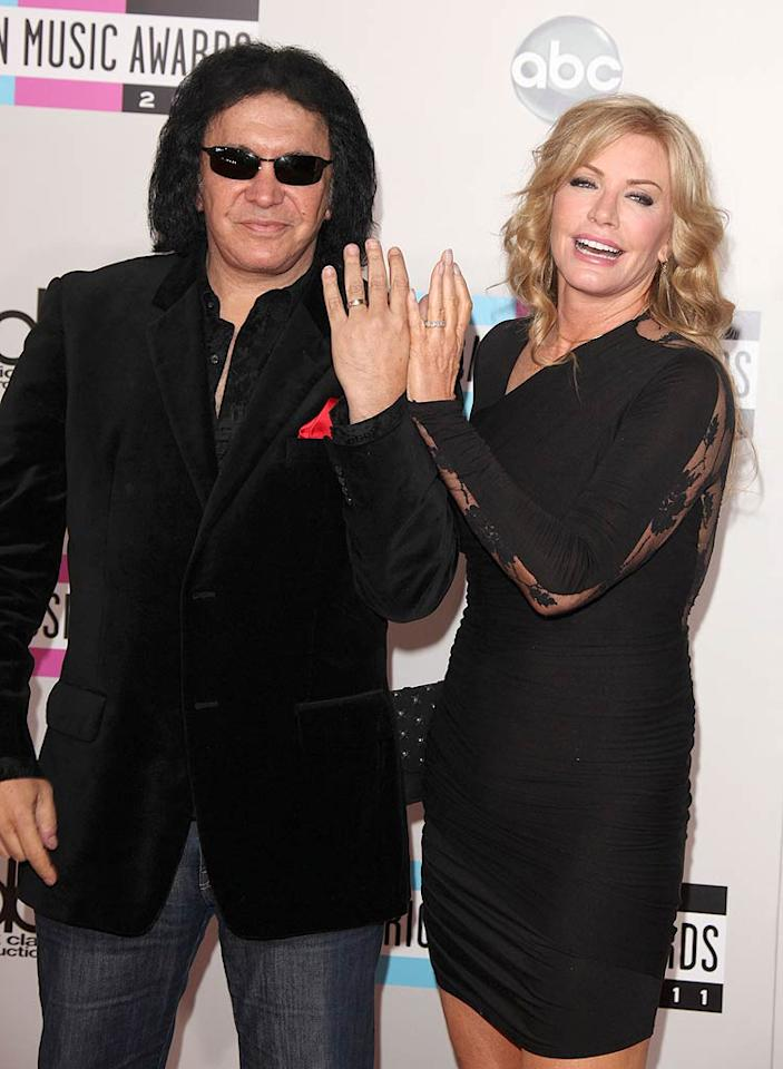 """Rocker Gene Simmons' wedding to Shannon Tweed -- his girlfriend of 28 years(!) --in Beverly Hills on October 1 was captured on cameras for the KISS frontman's reality series, """"Gene Simmons' Family Jewels."""" The couple's son Nick, 22, and Sophie, 19, were on hand to watch their parents say """"I do."""" Sophie, who served as maid of honor, even sang """"At Last"""" for their first dance."""