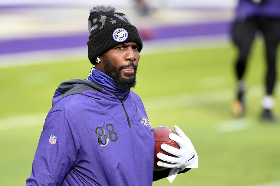 Wide receiver Dez Bryant #88 of the Baltimore Ravens looks on prior to the game against the Jacksonville Jaguars at M&T Bank Stadium on December 20, 2020 in Baltimore, Maryland. (Photo by Will Newton/Getty Images)