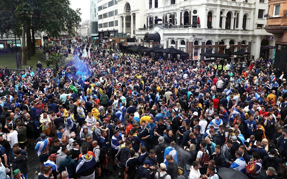 Scotland fans in Leicester Squae - PA