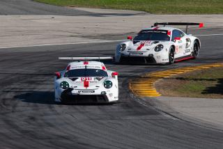 <em>The No. 911 and No. 912 Porsche 911 RSR-19s both finished on the podium in the 2020 Rolex 24 at Daytona (David Rosenblum/Icon Sportswire via Getty Images).</em>