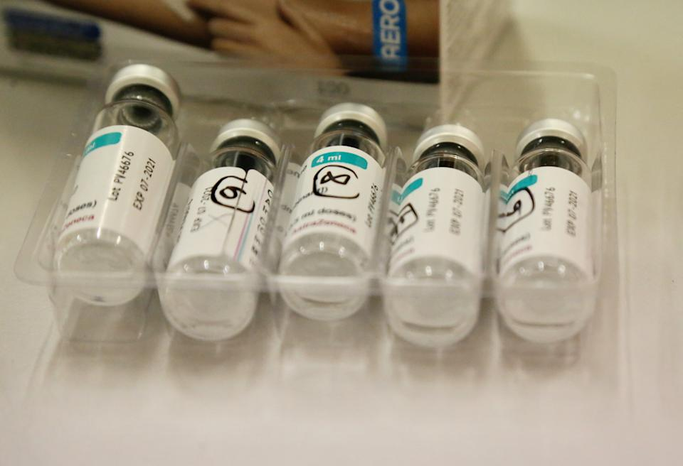 LONDON, UNITED KINGDOM - APRIL 17: Doses of coronavirus (Covid-19) vaccines are seen at temporary vaccination center established for those who think vaccination will break the fast with the contribution of the National Health Service (NHS) at Sutton district in London, United Kingdom on April 17, 2021. People receive coronavirus vaccine at the evening in during the Ramadan at vaccination center. (Photo by Hasan Esen/Anadolu Agency via Getty Images)