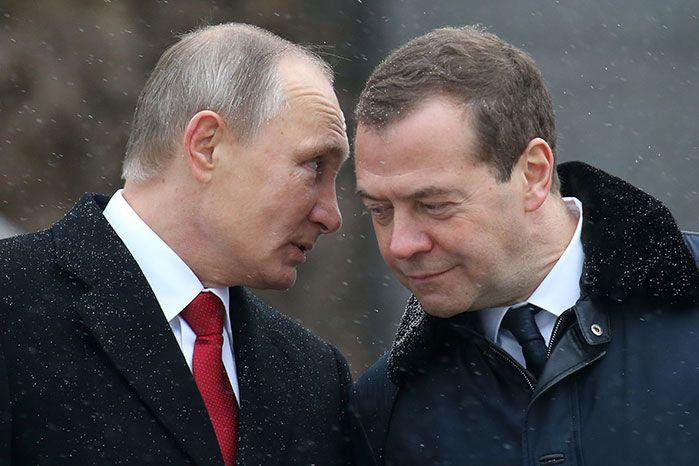 Russia's current premier Dmitry Medvedev (right) with President Putin. Image: Getty