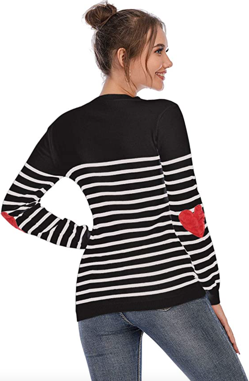 Shermie Heart Pattern Sweater in Black Stripe (Photo via Amazon)