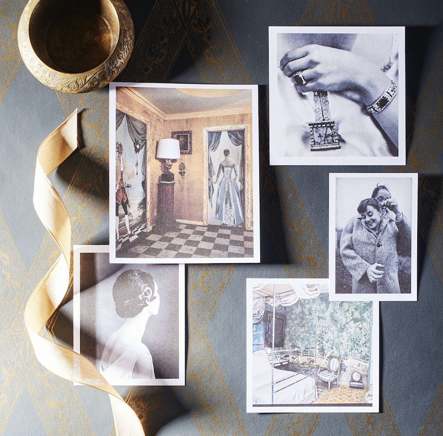"<p>As we move more deeply into fall and the scenery around us transitions toward winter, a palette of antique brass, sage green, and charcoal pulls at our sensibilities. Here are a few of the timeless photographs and interiors inspiring us today: </p><p>Lady Abdy, an English socialite and art dealer, was photographed in 1928 wearing a brooch made of Egyptian mosaic and surrounded by diamonds, emeralds, and rubies, dreamed up by French maison <a href=""https://www.cartier.com/"" rel=""nofollow noopener"" target=""_blank"" data-ylk=""slk:Cartier"" class=""link rapid-noclick-resp"">Cartier</a>. </p><p>Mel Ferrer buttons his wife, legendary actress and style icon Audrey Hepburn, into his wool coat on a blustery day on a country road outside Paris.</p><p>Pauline de Rothschild's Paris bedroom, photographed for <em>Vogue</em> in 1969, boasts an 18th-century wallpaper that brings the garden indoors, even when the world itself isn't in bloom. </p><p>Ilka Chase, a writer, actress, and radio star, was photographed in 1925 wearing a <a href=""https://www.cartier.com/"" rel=""nofollow noopener"" target=""_blank"" data-ylk=""slk:Cartier"" class=""link rapid-noclick-resp"">Cartier</a> tortoiseshell headpiece complete with diamond accents at the ears. </p><p>Tony Duquette's Beverly Hills home's hallway pays home to the theatrics of Hollywood with fanciful murals painted by Mrs. Duquette herself.</p>"