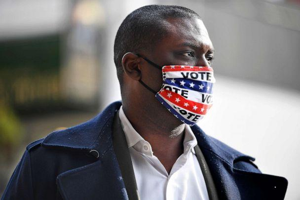 PHOTO: Democratic candidate Mondaire Jones campaigns on Election Day, Nov. 3, 2020, in Tarrytown, N.Y. (Jessica Hill/AP)
