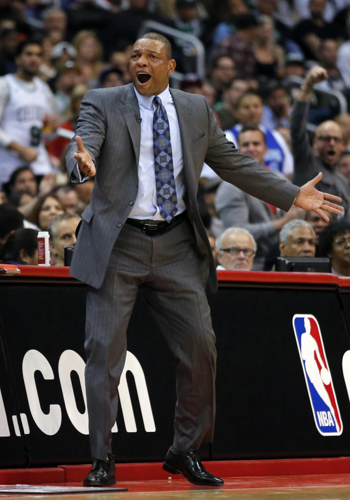 Boston Celtics head coach Doc Rivers reacts to a foul call on his team in the first half of an NBA basketball game against the Los Angeles Clippers in Los Angeles, Thursday, Dec. 27, 2012. (AP Photo/Jae C. Hong)