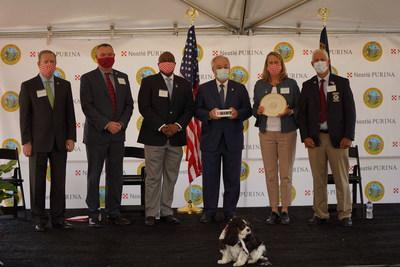 Officials from Nestlé Purina PetCare, the State of North Carolina, Rockingham County, N.C. and the City of Eden, N.C. gather to announce the development of a new Purina pet food manufacturing facility, which the pet care company plans to begin operating in Eden, N.C. in 2022. 