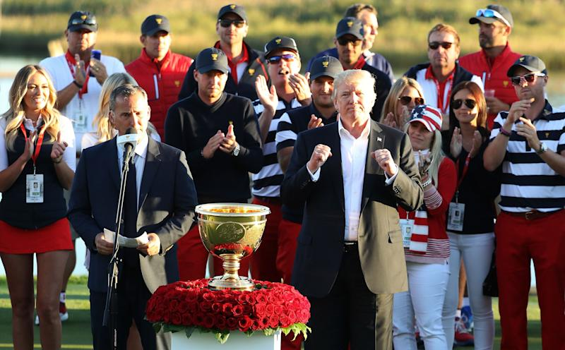 President Donald Trump presented the U.S. team with the trophy after they defeated the international team in the Presidents Cup at Liberty National Golf Club. (Photo: Rob Carr/Getty Images)