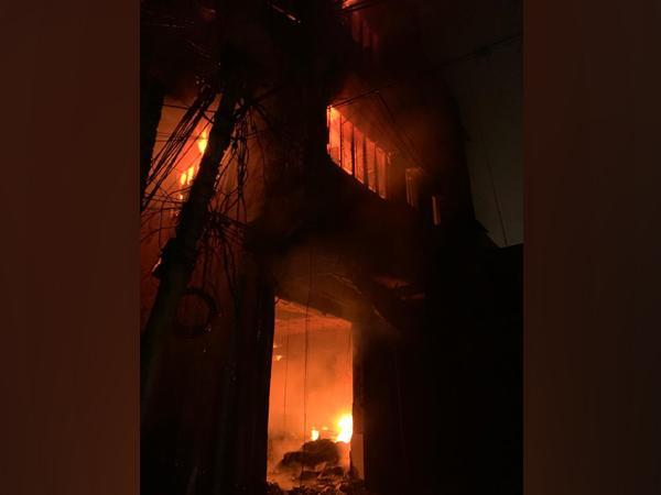 Visuals from the fire in Gandhi Nagar, Delhi. (Photo/ANI)