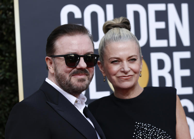 77th Golden Globe Awards - Arrivals - Beverly Hills, California, U.S., January 5, 2020 - Ricky Gervais and Jane Fallon. REUTERS/Mario Anzuoni