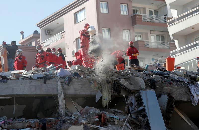 Rescue operations after earthquake struck Aegean Sea, in Izmir