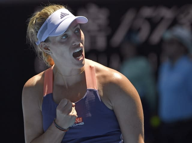 Angelique Kerber celebrates after beating Camila Giorgi