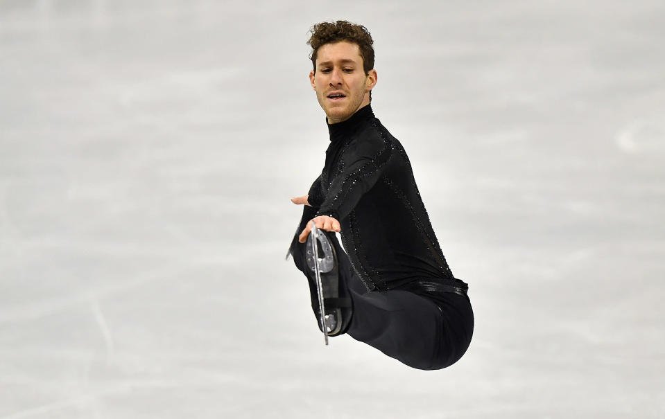 Jason Brown of the USA performs during the Men Short Program at the Figure Skating World Championships in Stockholm, Sweden, Thursday, March 25, 2021. (AP Photo/Martin Meissner)