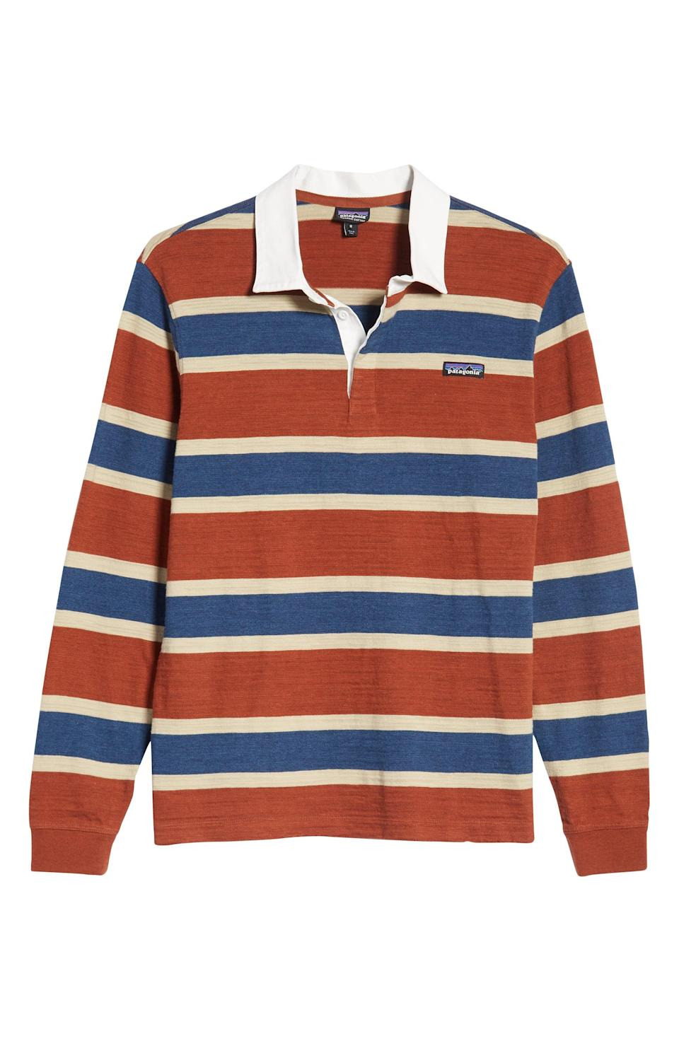"""<p><strong>PATAGONIA</strong></p><p>nordstrom.com</p><p><strong>$99.00</strong></p><p><a href=""""https://go.redirectingat.com?id=74968X1596630&url=https%3A%2F%2Fshop.nordstrom.com%2Fs%2Fpatagonia-rugby-stripe-polo-shirt%2F5242316&sref=https%3A%2F%2Fwww.esquire.com%2Fstyle%2Fmens-fashion%2Fg28074063%2Fbest-rugby-shirts%2F"""" rel=""""nofollow noopener"""" target=""""_blank"""" data-ylk=""""slk:Shop Now"""" class=""""link rapid-noclick-resp"""">Shop Now</a></p>"""