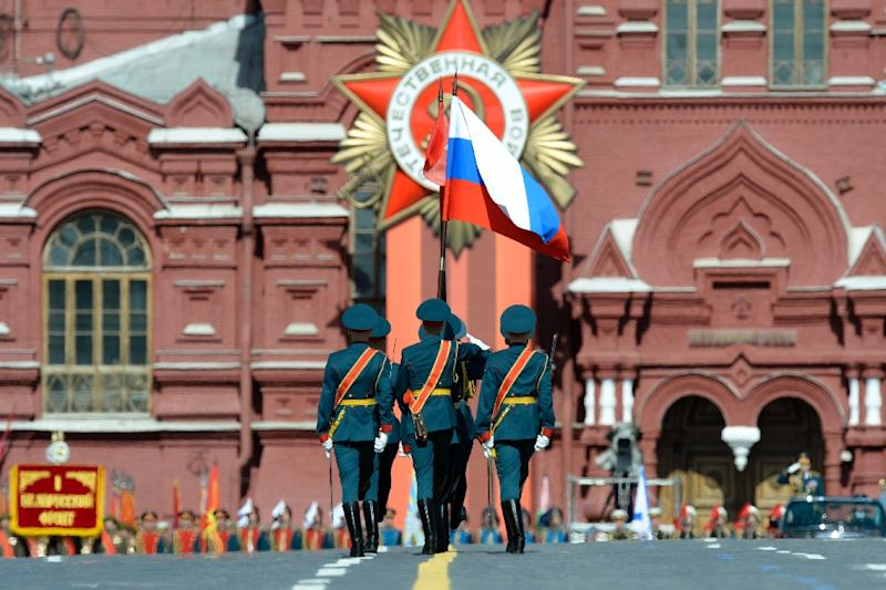 Russian honour guard marches through Red Square during the Victory Day military parade in Moscow on May 9, 2015 (AFP Photo/Yuri Kadobnov)
