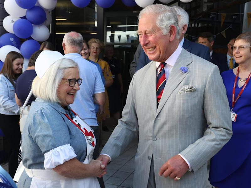 Prince Charles meets hospital staff as he visits Ysbyty Aneurin Bevan to celebrate the 70th Anniversary of the NHS on 5 July 2018: Photo by Chris Jackson/Getty Images