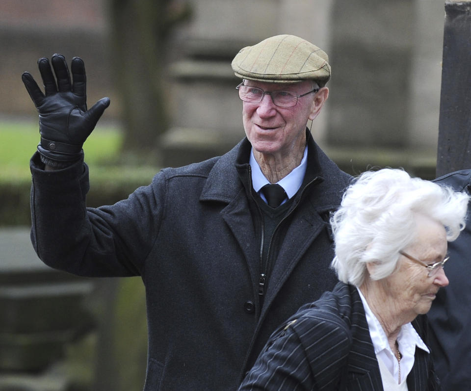 Former England player Jack Charlton arrives for the funeral service of former goalkeeper Gordon Banks at Stoke Minster, in Stoke on Trent, England, Monday March 4, 2019. Banks died on Feb. 12 aged 81. (AP Photo/Rui Vieira)