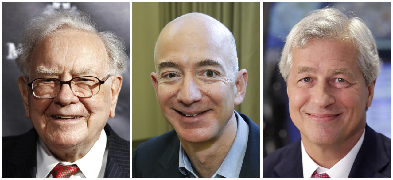 FILE- This combination of file photos from left shows Warren Buffett on Sept. 19, 2017, in New York, Jeff Bezos, CEO of Amazon.com, on Sept. 24, 2013, in Seattle and JP Morgan Chase Chairman and CEO Jamie Dimon on July 12, 2013, in New York. Amazon, JPMorgan Chase and Berkshire Hathaway are turning to well-known author and Harvard professor Dr. Atul Gawande to transform the health care they give their employees. The three corporate titans said Wednesday, June 20, 2018, that Gawande will lead an independent company that focuses on a mission they announced earlier this year: figure out ways to provide high-quality, affordable care. (AP Photos, File)