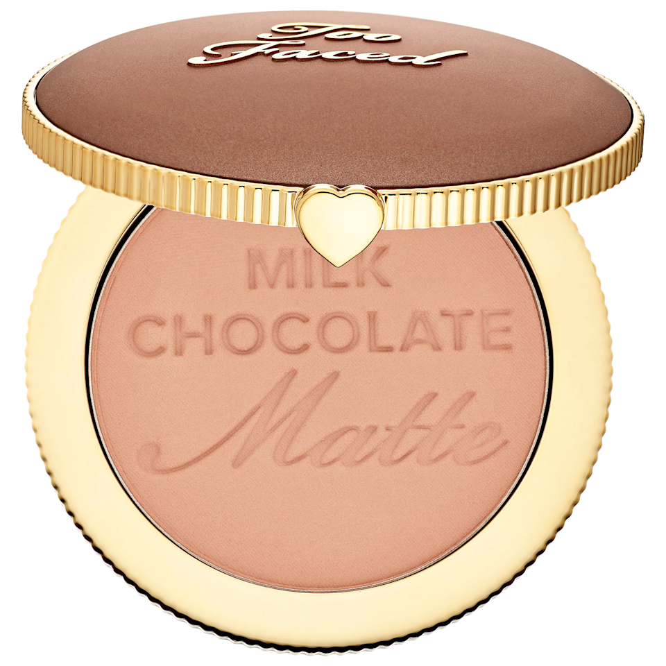 """This bronzer looks beautiful both in the pan and on your skin, and because it's made with real cocoa powder, it smells incredible as well. This buildable bronzer doesn't pull orange, and the Milk Chocolate shade is particularly great for light skin. The deeper shades are just as good, and all three can be used to add warmth and definition. $30, Too Faced. <a href=""""https://shop-links.co/1713086590236881124"""" rel=""""nofollow noopener"""" target=""""_blank"""" data-ylk=""""slk:Get it now!"""" class=""""link rapid-noclick-resp"""">Get it now!</a>"""