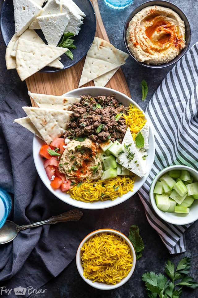 "<p>Tired of your usual burrito bowl? Try this Mediterranean-inspired version!</p><p>Get the recipe from <a rel=""nofollow"" href=""https://www.foxandbriar.com/mediterranean-lamb-bowls/"">Fox and Briar</a>.</p>"