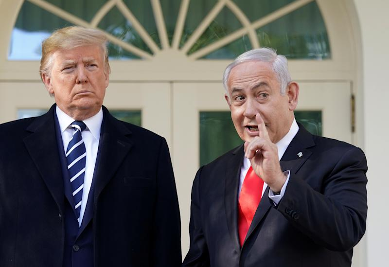 President Trump and Israeli Prime Minister Benjamin Netanyahu are seen outside the Oval Office in Washington, D.C., on Monday. (Kevin Lamarque/Reuters)