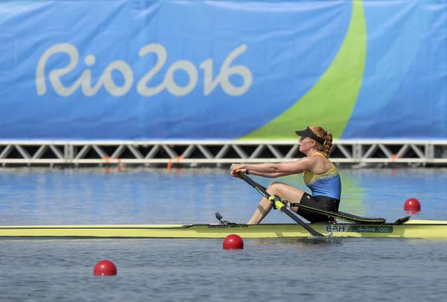 2016 Rio Olympics - Rowing - Semifinal - Women's Single Sculls Semifinal E/F 1 + 2 - Lagoa Stadium - Rio De Janeiro, Brazil - 09/08/2016. Emily Morley (BAH) of Bahamas competes. REUTERS/Gonzalo Fuentes FOR EDITORIAL USE ONLY. NOT FOR SALE FOR MARKETING OR ADVERTISING CAMPAIGNS.