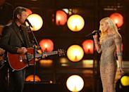 "<p>Gwen and Blake perform 'Go Ahead and Break My Heart' at the <a href=""https://www.billboard.com/articles/news/bbma/7378382/blake-shelton-gwen-stefani-billboard-music-awards-2016"" rel=""nofollow noopener"" target=""_blank"" data-ylk=""slk:Billboard Awards"" class=""link rapid-noclick-resp"">Billboard Awards</a>. The song is a duet on Shelton's album <em>If I'm Honest</em>. </p>"
