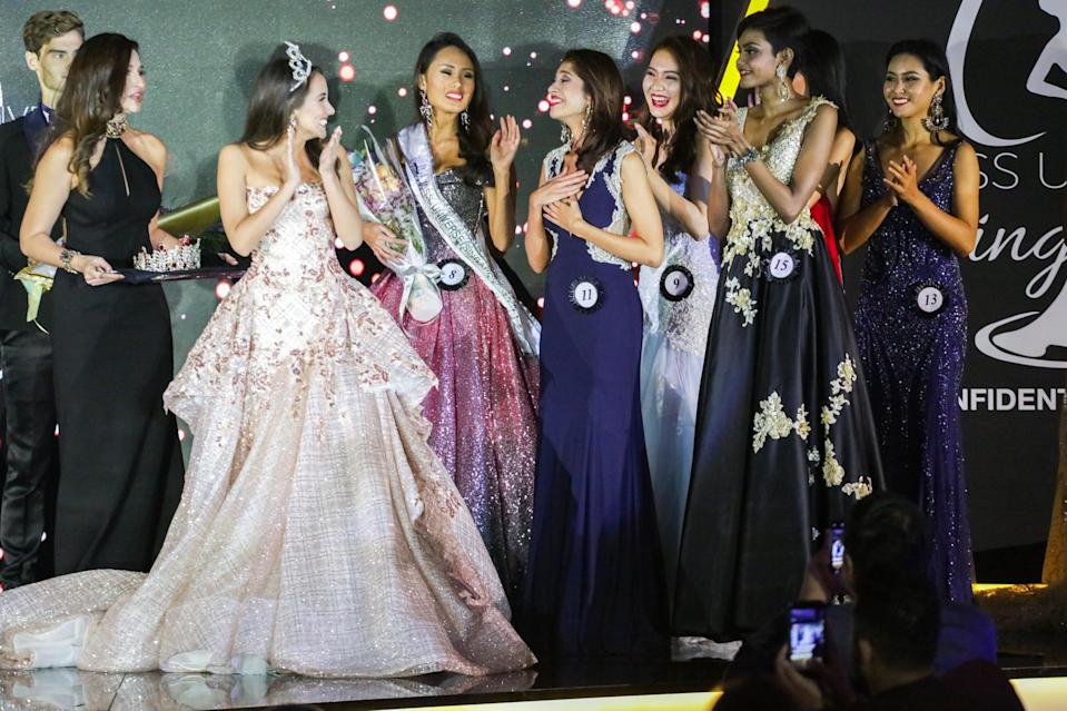 <p>Zahra Khanum, 23, reacting to her title win at the Miss Universe Singapore Grand Finale at One Farrer Hotel on 31 August 2018. (PHOTO: Don Wong for Yahoo Lifestyle Singapore) </p>