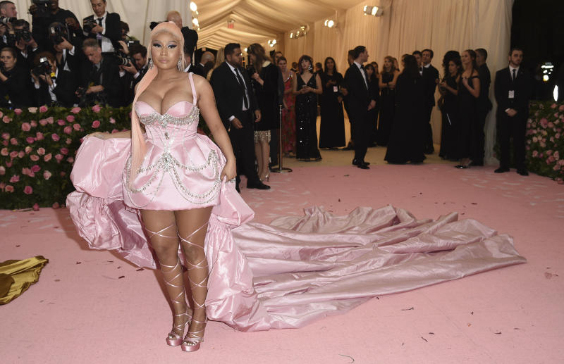 "Nicki Minaj attends The Metropolitan Museum of Art's Costume Institute benefit gala celebrating the opening of the ""Camp: Notes on Fashion"" exhibition on Monday, May 6, 2019, in New York. (Photo by Evan Agostini/Invision/AP)"