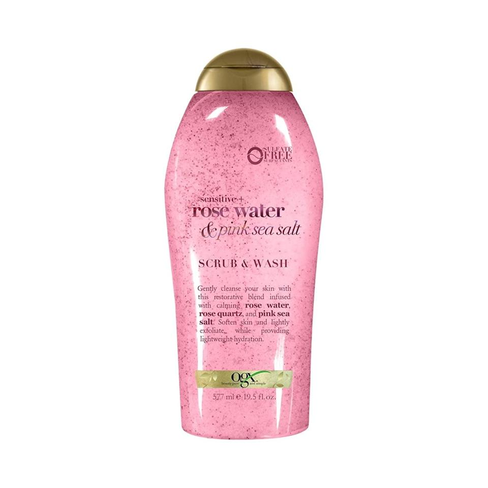 <p>The gentle and soothing <span>OGX Pink Sea Salt &amp; Rosewater Body Scrub</span> ($6) will transport you to a romantic spa getaway.</p>
