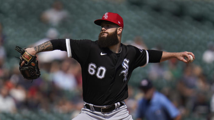 Chicago White Sox pitcher Dallas Keuchel throws against the Detroit Tigers in the first inning of a baseball game in Detroit, Saturday, July 3, 2021. (AP Photo/Paul Sancya)