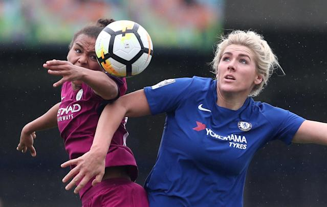 Soccer Football - Women's FA Cup Semi Final - Chelsea vs Manchester City - The Cherry Red Records Stadium, London, Britain - April 15, 2018 Chelsea's Millie Bright in action with Manchester City's Nikita Parris Action Images/Peter Cziborra
