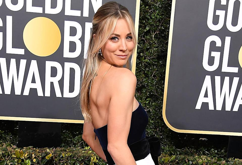 Kaley Cuoco arrives at the 76th Annual Golden Globe Awards at The Beverly Hilton Hotel. (Photo: Getty Images)