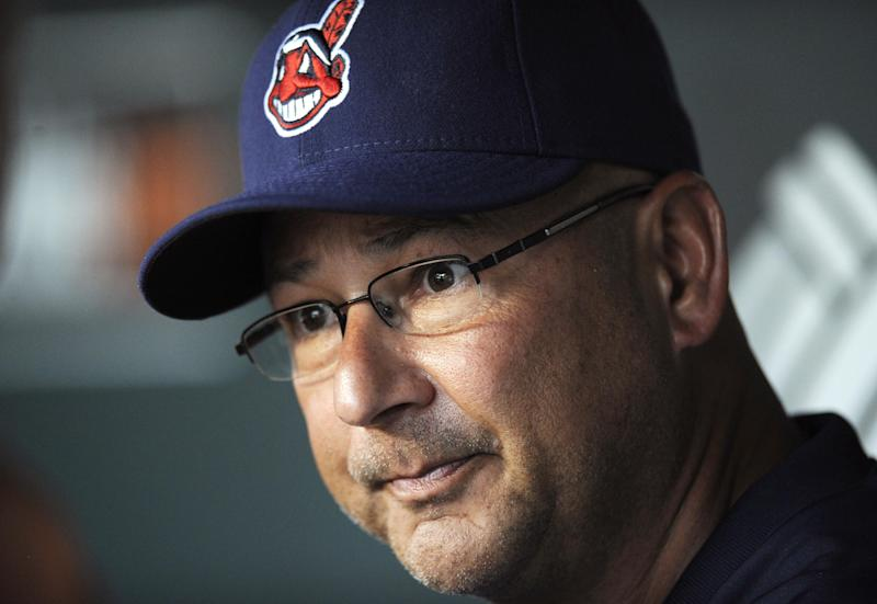 In this June 24, 2013, photo, Cleveland Indians manager Terry Francona talks to reporters before the Indians' baseball game against the Baltimore Orioles in Baltimore. Francona was selected as the AL Manager of the Year on Tuesday, Nov. 12, 2013, by the Baseball Writers' Association of America, (AP Photo/Nick Wass)
