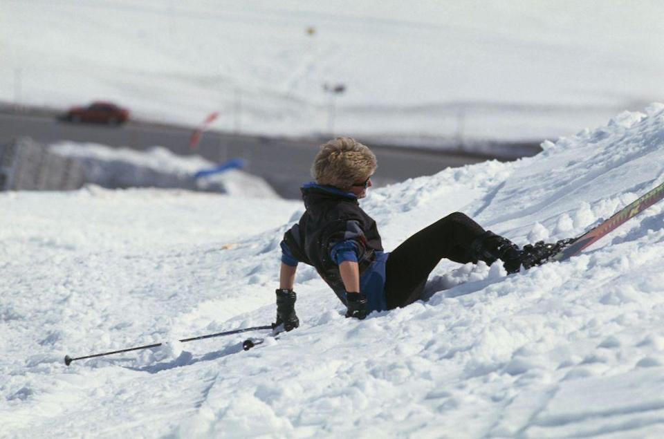 <p>Skiing is hard. Princess Diana takes a tumble while hitting the slopes in Lech, Austria. </p>