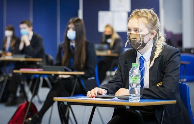 A students during at St Andrew's RC Secondary School in Glasgow