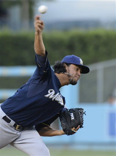 Milwaukee Brewers starting pitcher Yovani Gallardo throws to the plate during the first inning of their baseball game against the Los Angeles Dodgers, Wednesday, May 30, 2012, in Los Angeles. (AP Photo/Mark J. Terrill)