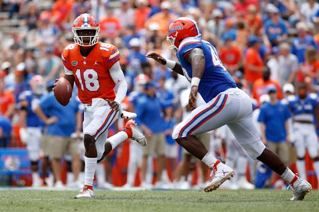 Florida QB Jalon Jones (18) scrambles during the Orange & Blue Game on April 13, 2019 at Ben Hill Griffin Stadium. (Photo by David Rosenblum/Icon Sportswire via Getty Images)