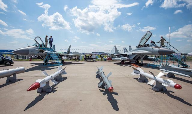 <p>A photo taken on July 18, 2017 shows different missiles that can be attached to Russian war planes presented during the opening day of the annual air show MAKS 2017 in Zhukovsky, some 40 km outside Moscow, Russia. (Photo: Mladen Antonov/AFP/Getty Images) </p>